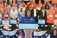 COCONUT CREEK, FL - OCTOBER 25: Angela Kelly performs the U.S. National Anthem at a rally with Democratic presidential nominee former Secretary of State Hillary Clinton to highlight the start of in-person early voting at Omni Auditorium, Broward College North Campus on October 25, 2016 in Coconut Creek, Florida. With two weeks to go until Election Day, Clinton will urge Florida voters to take advantage of in-person early voting, which begins in many Florida counties. Credit: MPI10 / MediaPunch