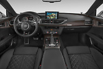 Stock photo of straight dashboard view of 2015 Audi S7 Base 4 Door Sedan