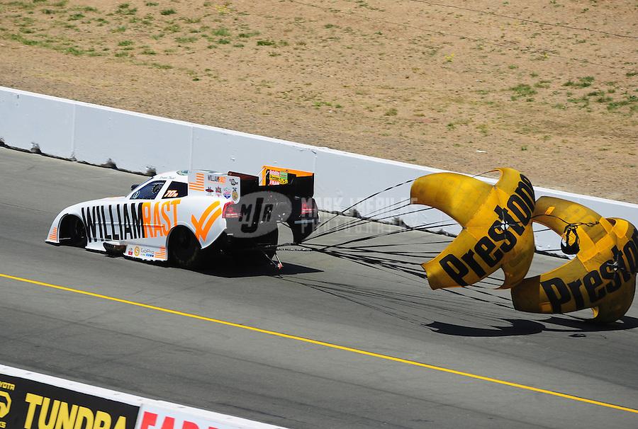 Jul. 30, 2011; Sonoma, CA, USA; NHRA funny car driver Brian Thiel during qualifying for the Fram Autolite Nationals at Infineon Raceway. Mandatory Credit: Mark J. Rebilas-