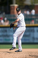 Charlotte Knights relief pitcher Zack Burdi (34) in action against the Gwinnett Braves at BB&T BallPark on September 5, 2016 in Charlotte, North Carolina.  The Braves defeated the Knights 6-2.  (Brian Westerholt/Four Seam Images)