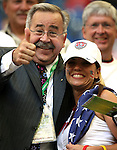 12 June 2006: Unidentified U.S. fan (right) poses with former Secretary General of the United States Soccer Federation Hank Steinbrecher (USA) (left) in the Veltins Arena stands, pregame. The Czech Republic defeated the United States 3-0 at Veltins Arena in Gelsenkirchen, Germany in match 10, a Group E first round game, of the 2006 FIFA World Cup.