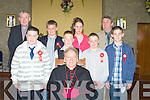 Bishop of Kerry Bill Murphy who confirmed the pupils of Ballincrossig NS Ballyduff on Monday in St Peters and Pauls Church, Ballyduff.l-r: Fr Brendan Walsh, Anthony Carroll, Jamie McGrath, Alan Carey, Megan Cotter, Kevin Guerin, Patrick O'Sullivan (teacher) and Shane O'Sullivan..