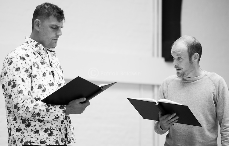 """King Lear"" rehearsed reading rehearsals. Old Vic Theatre. Director: Jonathan Miller. L to R: Christopher Brand, Jack Tarlton."