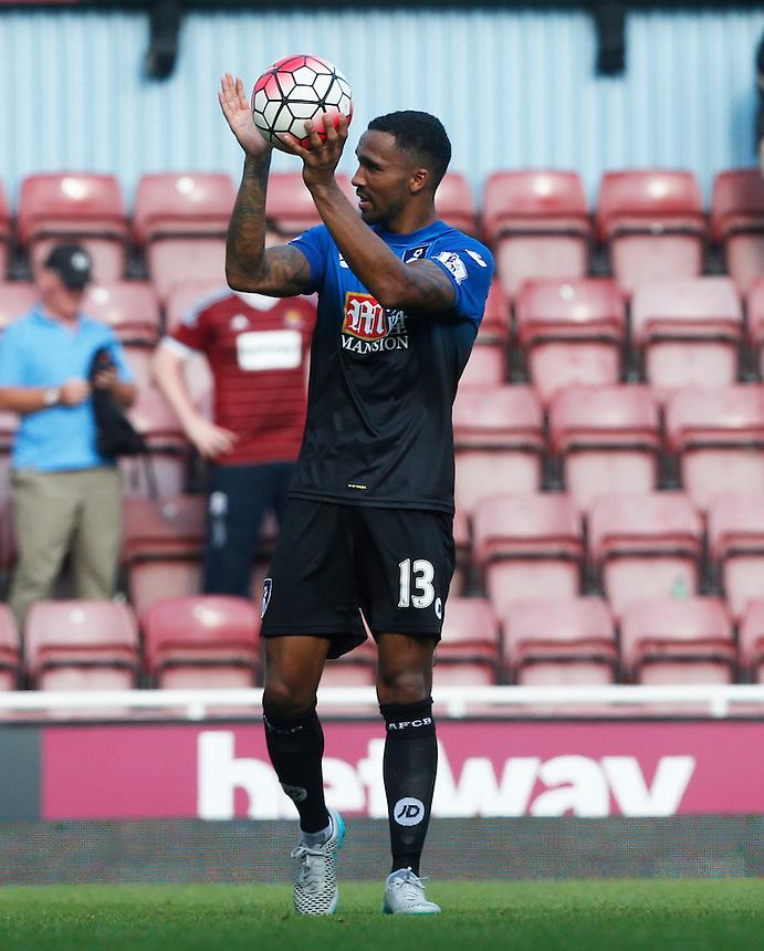 Bournemouth's Callum Wilson celebrates with his team mates with the ball<br /> <br /> Photographer Kieran Galvin/CameraSport<br /> <br /> Football - Barclays Premiership - West Ham United v Bournemouth - Saturday 22nd August 2015 - Boleyn Ground - London<br /> <br /> <br /> &copy; CameraSport - 43 Linden Ave. Countesthorpe. Leicester. England. LE8 5PG - Tel: +44 (0) 116 277 4147 - admin@camerasport.com - www.camerasport.com