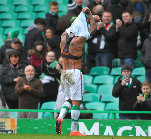 06.03.2016. Celtic Park, Glasgow, Scotland. Scottish Cup. Celtic versus Morton. Colin Kazim-Richards gives his jersey to a fan after the match