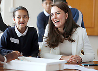 16 June 2017 - Princess Kate, Duchess of Cambridge, Patron of the 1851 Trust, Patron of the 1851 Trust, talks to children as she attends a lesson which focused on plastic in the sea at the charity's final Land Rover BAR Roadshow at the Docklands Sailing and Watersports Centre in London. Photo Credit: ALPR/AdMedia