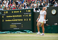 Svetlana Kuznetsova (7) of Russia in action during her defeat by Garbine Muguruza (14) of Spain in their Ladies' Quarter Finals Match today - Muguruza def 6-3, 6-4<br /> <br /> Photographer Ashley Western/CameraSport<br /> <br /> Wimbledon Lawn Tennis Championships - Day 8 - Tuesday 11th July 2017 -  All England Lawn Tennis and Croquet Club - Wimbledon - London - England<br /> <br /> World Copyright &not;&copy; 2017 CameraSport. All rights reserved. 43 Linden Ave. Countesthorpe. Leicester. England. LE8 5PG - Tel: +44 (0) 116 277 4147 - admin@camerasport.com - www.camerasport.com