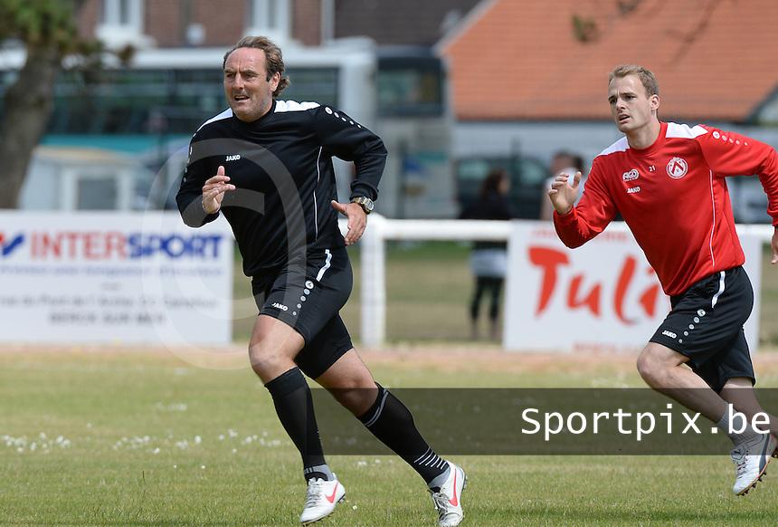 KV Kortrijk Stage Berck sur Mer : training met Coach Yves Vanderhaeghe (l) en Brecht Capon (r)<br /> foto VDB / BART VANDENBROUCKE