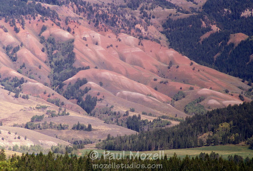Multi-colored rock and sand cliffs near Jackson Hole, WY