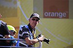 Photographer Chris Rymer waits at the finish of Stage 3 of the 104th edition of the Tour de France 2017, running 212.5km from Verviers, Belgium to Longwy, France. 3rd July 2017.<br /> Picture: Eoin Clarke | Cyclefile<br /> <br /> All photos usage must carry mandatory copyright credit (&copy; Cyclefile | Eoin Clarke)