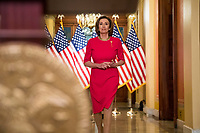 Speaker of the United States House of Representatives Nancy Pelosi (Democrat of California) arrives to read a statement outside her office on Capitol Hill, Monday, March 23, 2020, in Washington. <br /> Credit: Andrew Harnik / Pool via CNP/AdMedia