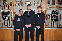 RICK PECK/SPECIAL TO MCDONALD COUNTY PRESS<br /> McDonald County honored its three seniors from the 2018-2019 basketball team in pregame ceremonies on Feb. 21 at MCHS. From left to right: Saul Garcia, Cooper Reece and Boston Dowd.