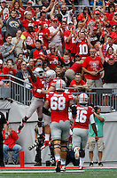 Ohio State Buckeyes wide receiver Michael Thomas (3) celebrates a touchdown catch with tight end Nick Vannett (81) during the second quarter of the NCAA football game at Ohio Stadium in Columbus on Sept. 19, 2015. (Adam Cairns / The Columbus Dispatch)
