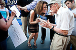 Republican presidential candidate Rep. Michele Bachmann greets supporters at a campaign stop in Fort Dodge, Iowa, July 31, 2011.