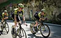 race preparations: Simon Yates (GBR/Mitchelton-Scott) & Team Mitchelton-Scott checking the TT prologue course that ends with a (very) steep 2 km climb to the Sanctuary of San Luca (in Bologna), ahead of the 102nd Giro d'Italia 2019<br /> <br /> ©kramon