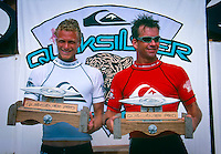 G-Land, Java, Indonesia. Shane Beschen (HAW) and Gary Elkerton (AUS) after the running of the 1996 Quiksilver G-Land Pro. The contest was won by Shane Beschen (HAW) with Elkerton in second place..Photo: joliphotos.com