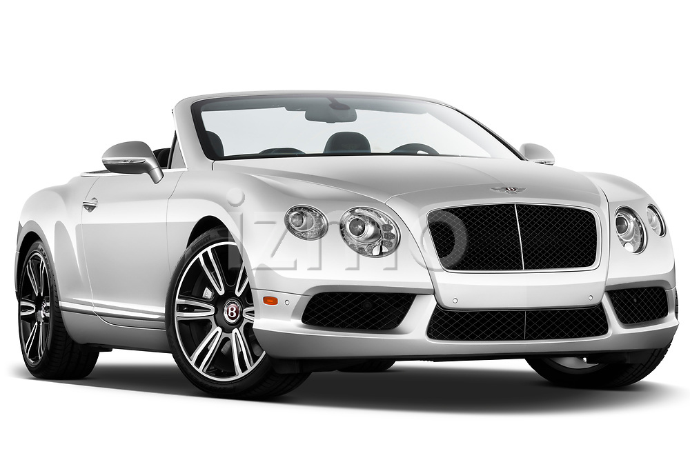 Low aggressive passenger side front three quarter view of a 2013 - 2014 Bentley Continental GTC Convertible.