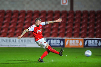 Fleetwood Town's defender Peter Clarke (4) scores the first penalty during the The Leasing.com Trophy match between Fleetwood Town and Liverpool U21 at Highbury Stadium, Fleetwood, England on 25 September 2019. Photo by Stephen Buckley / PRiME Media Images.