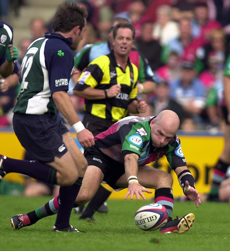 Photo:  Peter Spurrier..London Irish v NEC Harlequins. Zurich Premiership Rugby. 11/10/2003. .Paul Burke drops the ball...