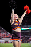Blacksburg, VA - SEPT 30, 2017: Virginia Tech Hokies cheerleader performs during game between Clemson and Virginia Tech at Lane Stadium/Worsham Field Blacksburg, VA. (Photo by Phil Peters/Media Images International)