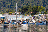 "Commercial fishing vessel ""Swift"" in the Sitka Channel, Sitka, Baranof Island, southeast, Alaska."