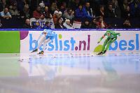 SCHAATSEN: HEERENVEEN: IJsstadion Thialf, 09-11-2012, KPN NK afstanden, Seizoen 2012-2013, 1500m Dames, Lotte van Beek, Laurine van Riessen, ©foto Martin de Jong