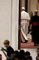 Papa Francesco incontra le famiglie numerose in Aula Paolo VI, Citta' del Vaticano, 28 dicembre 2014.<br /> Pope Francis leaves after a meeting with large families in the Paul VI hall at the Vatican, 28 December 2014.<br /> UPDATE IMAGES PRESS/Isabella Bonotto<br /> <br /> STRICTLY ONLY FOR EDITORIAL USE