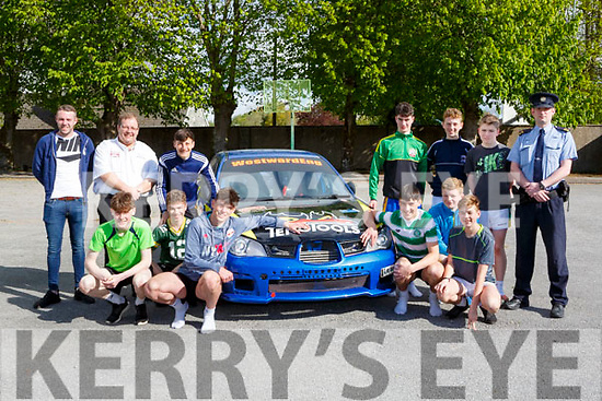 St Brendans College students at the Road Safety Promoation held by The Road Safety Authority ans Killarney Motor and District club held in St Brendans College on Tuesday morning front row l-r: Alan Buckley Club Safety Officer, Anthony O'Connor Clerk of the Course, Adam Kissane, Harry Potts, Christian Komosa, Ian Prendergast, Brian Doherty, Max Walsh, Paul O'Shea, Adam Walshe, Peter O'Sullivan Darragh O'Leary Garda Joe O'Sullivan