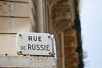 Street sign to Rue to Russie, Nice, France, 28 April 2012