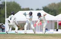 John Simpson of Middlesex CCC takes the edge from the bowling of Thilan Walallawita to dismiss James Fuller during Middlesex CCC vs Hampshire CCC, Bob Willis Trophy Cricket at Radlett Cricket Club on 11th August 2020