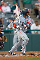 Jorge Jimenez #40 of the Portland Sea Dogs follows through on his swing versus the Trenton Thunder at Waterfront Park May 12, 2009 in Trenton, New Jersey. (Photo by Brian Westerholt / Four Seam Images)