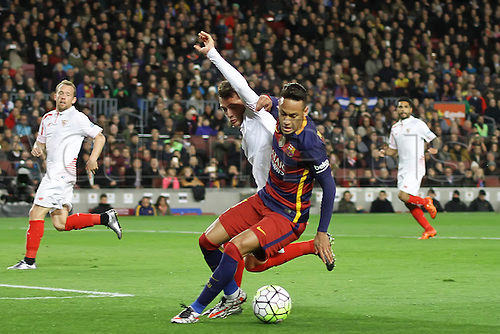 28.02.2016. Nou Camp, Barcelona, Spain. La Liga football match. Barcelona versus Sevilla. Neymar in action during the match