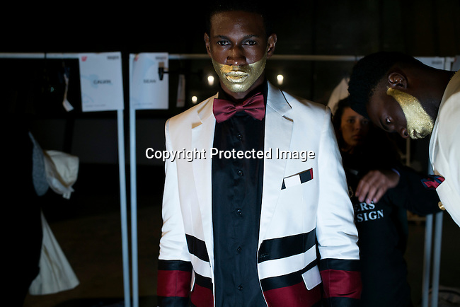 CAPE TOWN, SOUTH AFRICA JULY 4: Models walking for the designer label Palse Homme waits backstage before a show at South Africa Menswear week 2015 on July 4, 2015 in Cape Town, South Africa. The second edition of SAMW featured designers from South Africa and around Africa showing spring and summer collections during the 3-day event. (Photo by Per-Anders Pettersson)