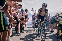 "Primoz Roglic (SVK/LottoNL-Jumbo) coming through ""Dutch Corner"" (#7) on Alpe d'Huez<br /> <br /> Stage 12: Bourg-Saint-Maurice / Les Arcs > Alpe d'Huez (175km)<br /> <br /> 105th Tour de France 2018<br /> ©kramon"