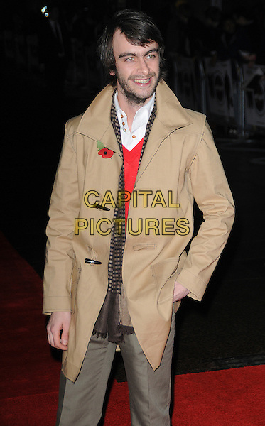 JOSEPH GILGUN.attending the European Premiere of 'Harry Brown' at the Odeon Leicester Square, London, England, UK, November 10th 2009..half length coat camel brown striped scarf hand in pocket beard facial hair poppy tan beige white shirt collar smiling.CAP/CAS.©Bob Cass/Capital Pictures.