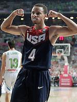 USA's Stephen Curry celebrates during 2014 FIBA Basketball World Cup Quarter-Finals match.September 9,2014.(ALTERPHOTOS/Acero)