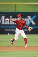 Clearwater Threshers shortstop Jose Gomez (3) throws to first base during a game against the Jupiter Hammerheads on April 9, 2018 at Spectrum Field in Clearwater, Florida.  Jupiter defeated Clearwater 9-4.  (Mike Janes/Four Seam Images)