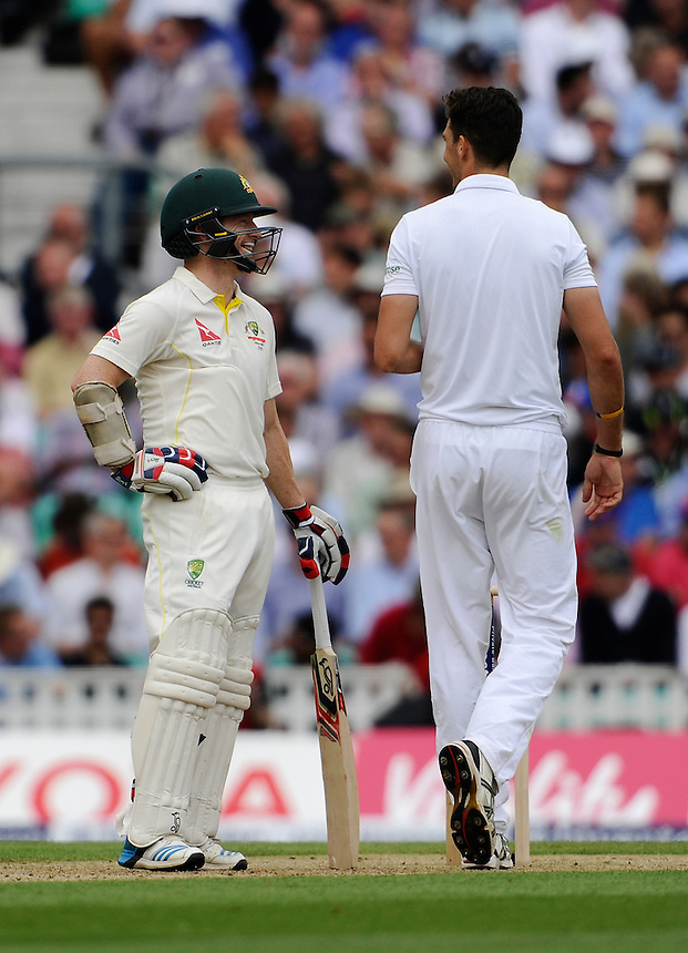 Australia's Chris Rogers shares a joke with England's Steven Finn<br /> <br /> Photographer Ashley Western/CameraSport<br /> <br /> International Cricket - Investec Ashes Test Series 2015 - Fifth Test - England v Australia - Day 1 - Thursday 20th August 2015 - Kennington Oval - London<br /> <br /> &copy; CameraSport - 43 Linden Ave. Countesthorpe. Leicester. England. LE8 5PG - Tel: +44 (0) 116 277 4147 - admin@camerasport.com - www.camerasport.com