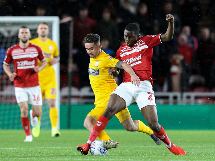 Preston North End's Sean Maguire is tackled by Middlesbrough's Anfernee Dijksteel<br /> <br /> Photographer Alex Dodd/CameraSport<br /> <br /> The EFL Sky Bet Championship - Middlesbrough v Preston North End - Tuesday 1st October 2019  - Riverside Stadium - Middlesbrough<br /> <br /> World Copyright © 2019 CameraSport. All rights reserved. 43 Linden Ave. Countesthorpe. Leicester. England. LE8 5PG - Tel: +44 (0) 116 277 4147 - admin@camerasport.com - www.camerasport.com