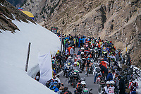 race leader Mikel Landa (ESP/SKY) surounded by motos on top of the Umbrailpass (Alt: 2502m)<br /> <br /> Stage 16: Rovett &rsaquo; Bormio (222km)<br /> 100th Giro d'Italia 2017