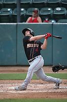Matt Sanders (4) of the Modesto Nuts bats against the Visalia Rawhide at Recreation Ballpark on June 10, 2019 in Visalia, California. (Larry Goren/Four Seam Images)