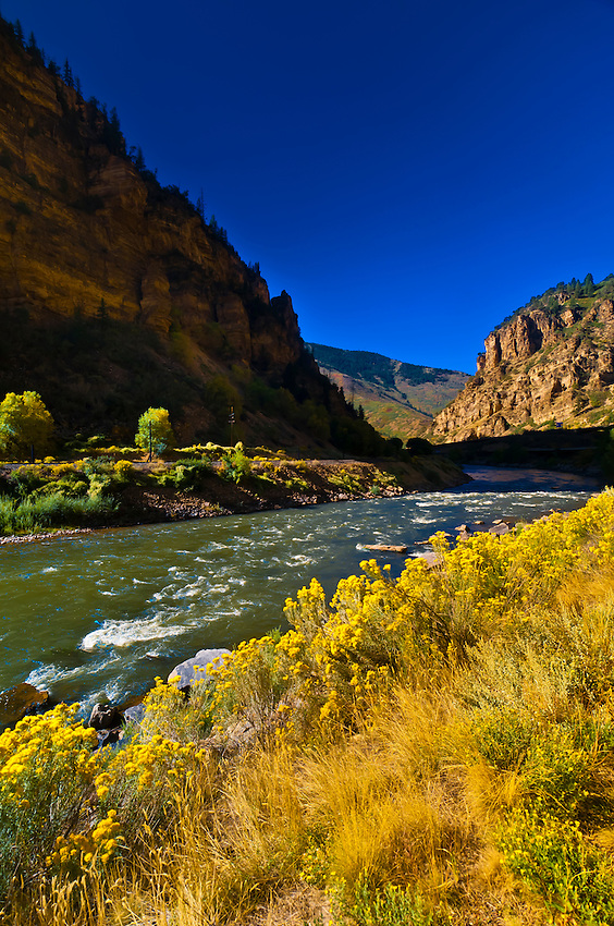 View of the Colorado River passing through Glenwood Canyon, Glenwood Springs, Colorado USA