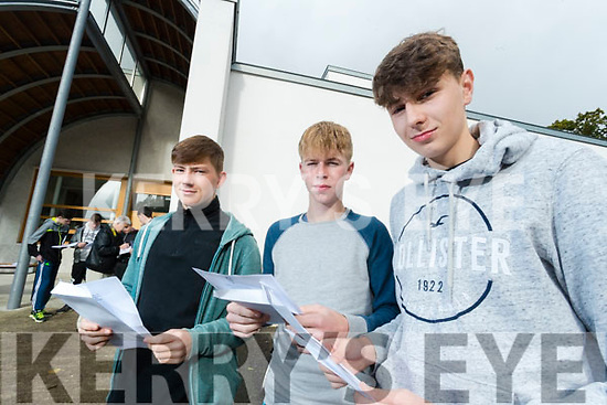 Ruairi O'Sullivan, Tadgh Ferriter and Brian O'Dowd, CBS, The Green, pictured after receiving their Junior Certificate results on Wednesday morning last.