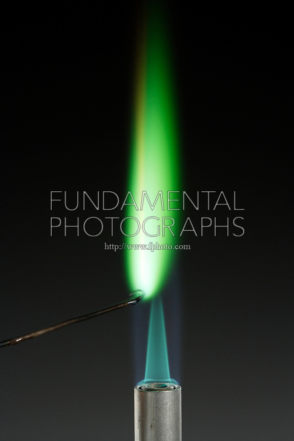 CUPROUS CHLORIDE FLAME TEST (CuCl)<br /> Bright green flame indicates presence of copper (Transition metal).<br />  Copper compound is dissociated by flame into gaseous atoms, not ions. Atoms of the element are raised to excited state by high temperature of flame. Excess energy from the atom is emitted as light of a characteristic wavelength.