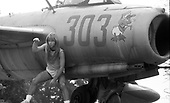 IRON MAIDEN - Bruce Dickinson - poses with a jet fighter aircraft in Lodz Poland - 10 Aug 1984.  Photo credit: George Bodnar Archive/IconicPix