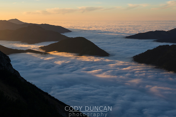 Mountains emerge above inversion layer fog, from summit of Breitenberg, Allgäu, Bavaria, Germany