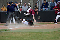 Verona's Joe DuCharme slides in safe under Middleton catcher, Remington Lockwood, during a 9-run 5th inning, as Verona tops Middleton 10-0 in Big Eight Conference high school baseball at Stampfl Field in Verona, Wisconsin on Tuesday, 4/9/19