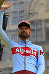 Rick Zabel (GER) Team Katusha Alpecin on stage at the team presentation in Antwerp before the start of the 2019 Ronde Van Vlaanderen 270km from Antwerp to Oudenaarde, Belgium. 7th April 2019.<br /> Picture: Eoin Clarke | Cyclefile<br /> <br /> All photos usage must carry mandatory copyright credit (&copy; Cyclefile | Eoin Clarke)