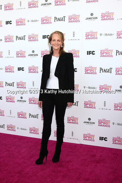 LOS ANGELES - FEB 23:  Helen Hunt attends the 2013 Film Independent Spirit Awards at the Tent on the Beach on February 23, 2013 in Santa Monica, CA
