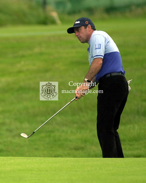 Leading Irishman Paul McGinley chips in for an eagle at the 17th hole in the Murphy's Irish Open at Ballybunion..Picture by Don MacMonagle